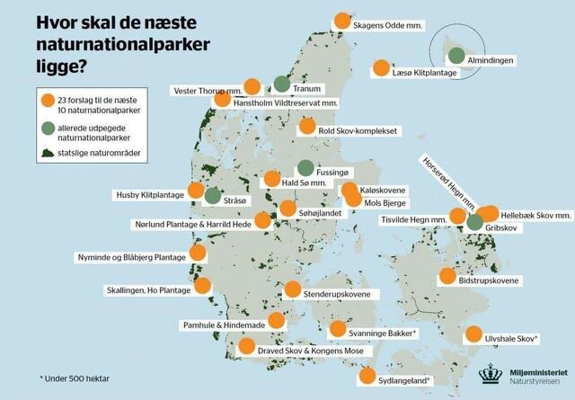 Her kan de nye naturnationalparker komme til at ligge